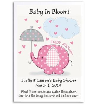 8 Baby Elephant Baby Shower Seed Favors Pink