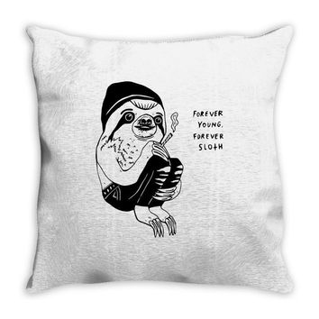forever young forever sloth Throw Pillow