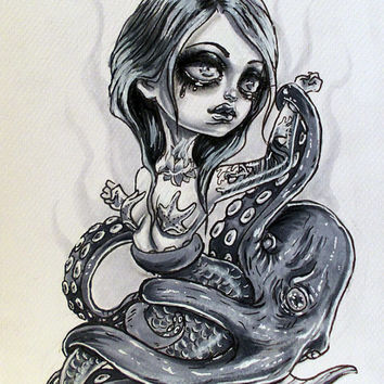 The Mermaid and The Octopus Original Drawing by maimaiart on Etsy