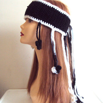 Bohemian Headband Festival Head Band Gypsy Headband Crochet Necklace Lariat Scarf Hippie Style Dreadlock Bandana Women Hair Accessories