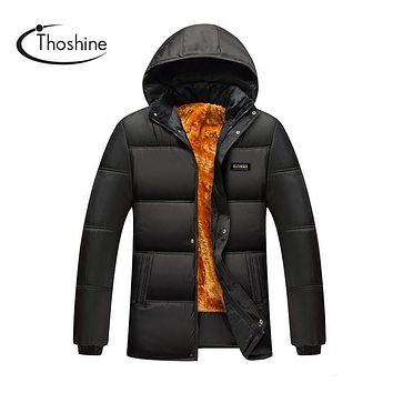 Thoshine Spring Autumn Winter Men Thickened Parkas Male Black Hooded Coats Homme Thermal Warm Jackets Fleece Flocking Clothing