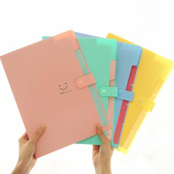 Mini PVC Candy Colors A4 Test File Folder 5 Layer Large Multifunction Expanding Wallet Clip Bag School Office Business Supplies