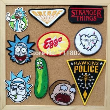 Rick and Morty  iron on patch Stranger Things  badge movie TV coat cloth souvenir embroidered appliques