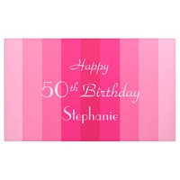Personalized 50th Birthday Sign Pink Stripes
