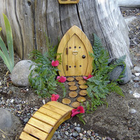 "Miniature Garden, Fairy Door, Gnome Door, Hobbit Door, Elf Door, Troll Door. 7"" tall Pine door garden kit."