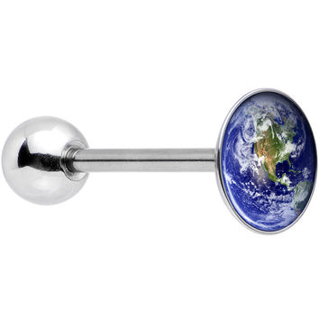Stainless Steel Vivid Earth Orbit Logo Barbell Tongue Ring