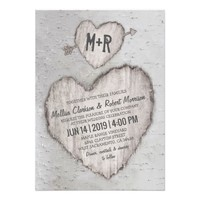 Rustic Woodland Carved Heart Birch Tree Wedding Card