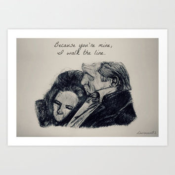 Johnny Cash and June Carter Art Print by Lauraaan182