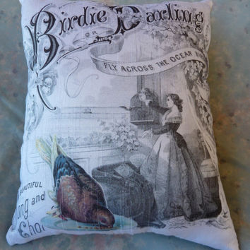Birdie Darling Pillow Vintage Music Sheet with Bird