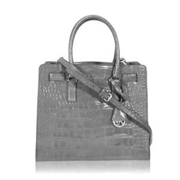 MICHAEL KORS DILLON CROC EMBOSSED LEATHER GREY LARGE NORTH SOUTH TOTE BAG