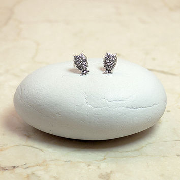 Sterling Silver Tiny Owl Earrings, Silver Stud Earrings, Owl Earrings, Tiny Earrings
