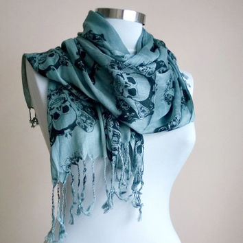 Men's and Women's Skull Scarf Grey and Black. Halloween accessories .Soft Cotton Grey Scarf. Skull Scarves.Unisex Scarf.