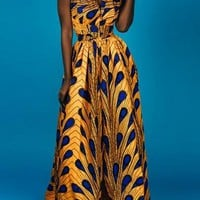 Yellow Peacock Feather Tribal Print Draped Multifunction High Waisted Elegant Party Maxi Dress