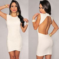 White Sleeveless Cutout Back Bodycon Mini Dress