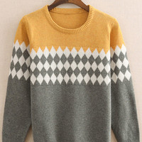 Color Block Diamond Pattern Knitted Sweater