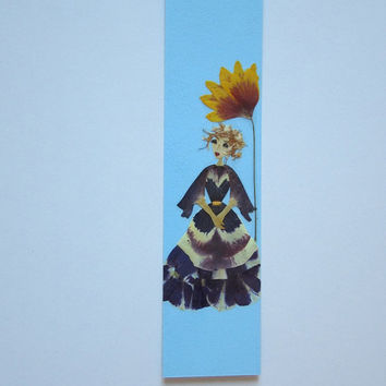 "Handmade unique bookmark ""Turned toward the sun"" - Decorated with dried pressed flowers and herbs - Original art collage."