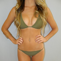 Small Triangle Olive Green Strappy Low Rise Brazilian Bikini Set (2 Piece Set)