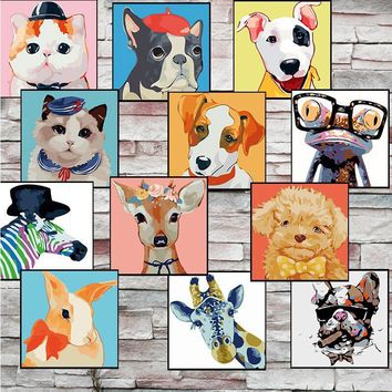 20*20cm Frameless Home Cartoon Animal DIY Art Oil Painting by Numbers Children Handpainted on Canvas for Living Room Wall Pictur