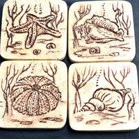 Stone coasters hand carved Marine life design beige Travertine natural stone