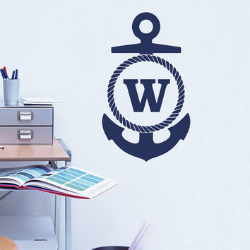 Monogram Anchor Wall Decal- Personalized Initial Wall Decal- Boy Name Wall Decal- Baby Name Decal- Nursery Name Decal Anchor Sticker 0093