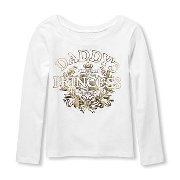 Baby And Toddler Girls Long Sleeve Foil 'Daddy's Princess' Graphic Tee