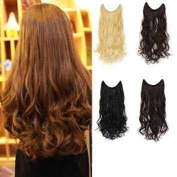 """20"""" Curly Synthetic Hair Extensions - Transparent wire / No clips"""