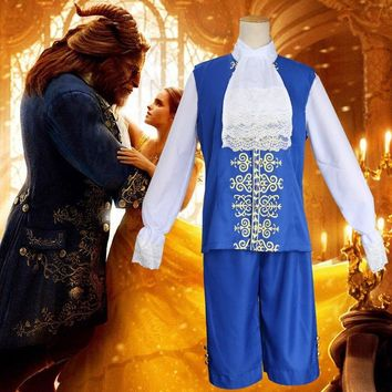 2018 Movie Beauty and The Beast Adult  Prince Cosplay Costume Halloween Men Vintage Costumes Outfit  Gentleman Blue Jacket