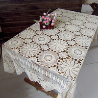Crocheted  Rectangular  Beige Tablecloth    51x71 Inches