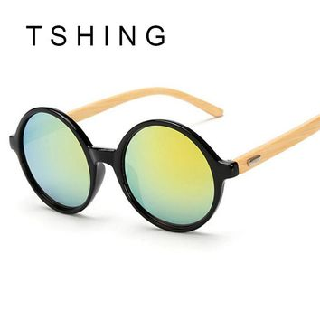 TSHING Unique Bamboo Designer Mirror Round Sunglasses Women Men Vintage Brand Sun Glasses For Male Female Original Eyewear UV400