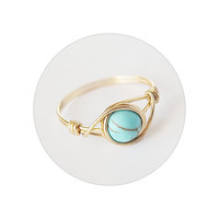 Brass Turquoise ring - unique rings