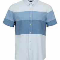 BLUE STRIPE SHORT SLEEVE SHIRT - New This Week - New In - TOPMAN USA