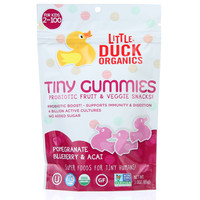 Little Duck Organics Probiotic Fruit and Veggie Snacks - Organic - Tiny Gummies - Pomegranate Blueberry and Acai - Ages 2 Years Plus - 3 oz - case of 6