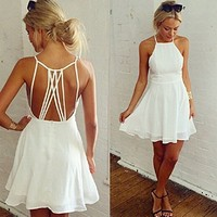 Coromose Women Summer Cute White Backless Mini Hollow Girl Chiffon Beach Sexy Dress