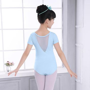Blue/Pink V-back Summer Children Ballet Clothes Short Sleeves Ballerina Dance Costume Cotton Ballet gymnastic Leotard For Girls