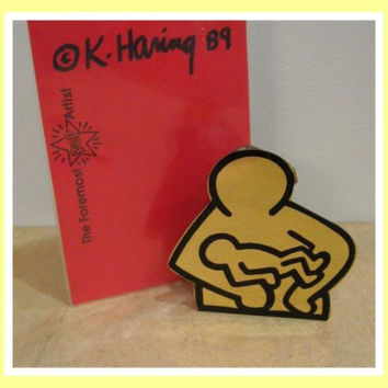 Keith Haring 1989 Pop Shop Metal Mother and Child