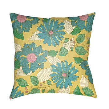 Moody Floral Pillow Cover - Grass Green, Bright Yellow, Pear, Pale Pink, Aqua - MF030