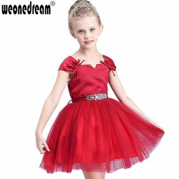 2017 Flower Girl Dress for Weddings Crystal Girls Pageant Dresses Red First Communion Dresses Robe Petite Fille D'honneur