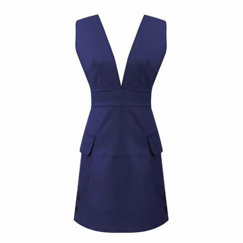 QZ2094 New Fashion women sexy v neck Dress office lady sleeveless pockets backless dress causal slim mini dress