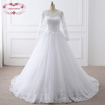 We Guarantee Real Photo 2017 High Quality Puffy White Ivory Wedding Dress With Long Sleeve Muslim Wedding Gowns robe de mariage