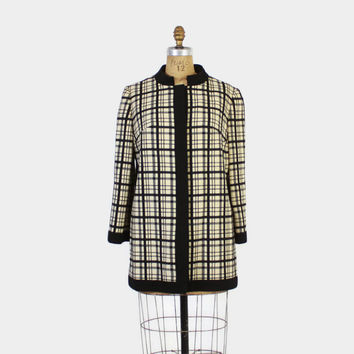 Vintage 60s LILLI ANN COAT / 1960s Black & Ivory Mod Wool Winter Jacket S - M