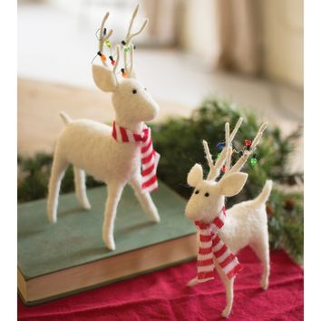 Felt Deer With Scarves & Christmas Lights (Set of 2)