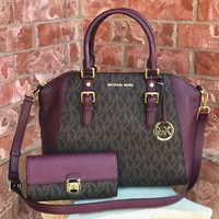 NWT Authentic MK Signature Ciara Large Handbag + Wallet Set $616 Brown / Plum