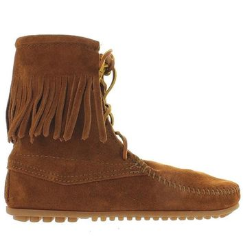 Minnetonka Tramper - Brown Suede Fringe Lace-Up Boot