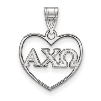 Sterling Silver Alpha Chi Omega Heart Pendant