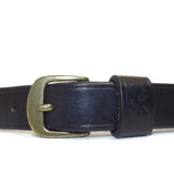 Little Boys Adorable Black Leather Brass buckle Calvin Klein Belt Size S Small