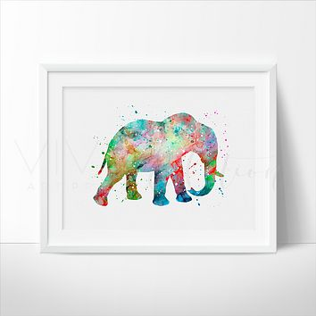 Elephant Watercolor Art Print