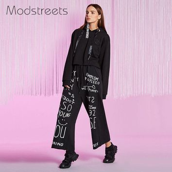 Cotton Wide Leg Pants Elegant Tailored Black Flare Elastic Waist Pants Letter Graffiti Print Fly Casual Trousers Loose Pants