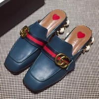 Gucci Women Fashion Casual Low Heeled Shoes Slipper Shoes