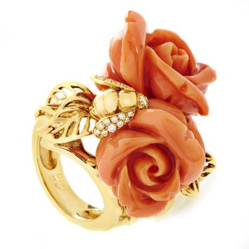 Dior Pré Catelan Coral Diamond Gold Rose Ring
