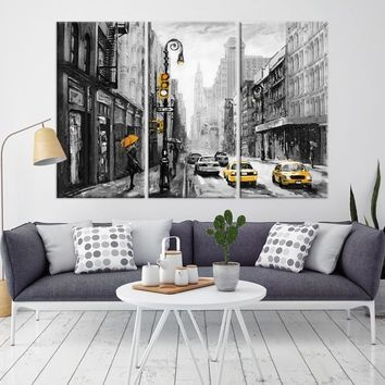 84794 - Old Town Large Abstract Painting Wall Art Canvas Print